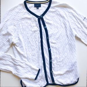 Burberry Golf White and Navy Lined Cardigan
